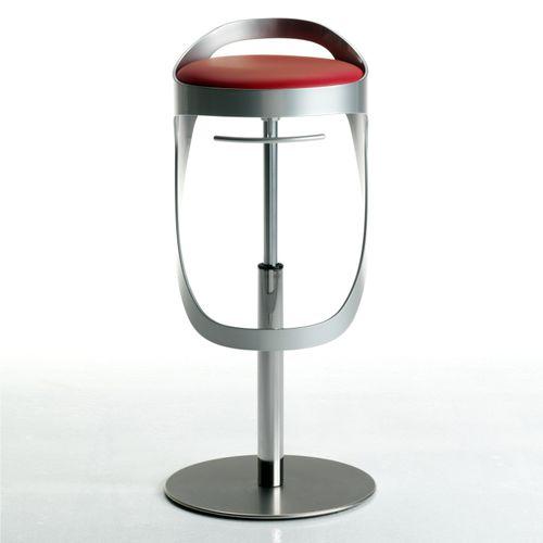 sgabello da bar moderno / in pelle / in acciaio inossidabile / in alluminio