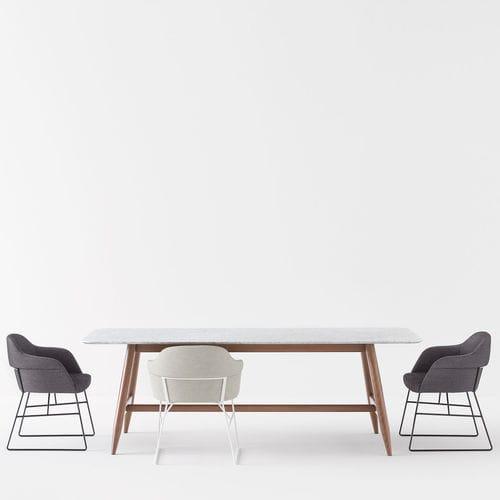 tavolo moderno / in marmo / in faggio / in MDF laccato