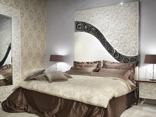 letto matrimoniale / design nuovo barocco / in tessuto