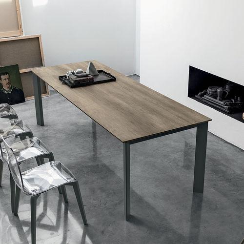 Tavolo da pranzo moderno / in MDF / in vetro temprato / in alluminio verniciato SATURNO 160 Target Point New