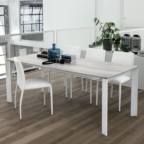Tavolo da pranzo moderno / in MDF / in vetro temprato / in alluminio verniciato SATURNO 130 Target Point New