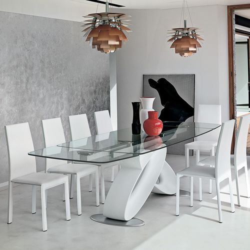 Tavolo da pranzo moderno / in vetro / in poliuretano / in vetro temprato ECLIPSE Target Point New
