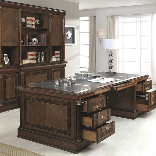 scrivania direzionale / in legno / classica / con vano contenitore