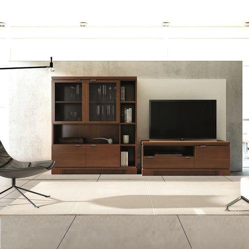 parete attrezzata TV moderno / in legno / in vetro