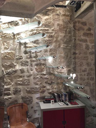 scala dritta / a L / con struttura in vetro / con gradini in vetro