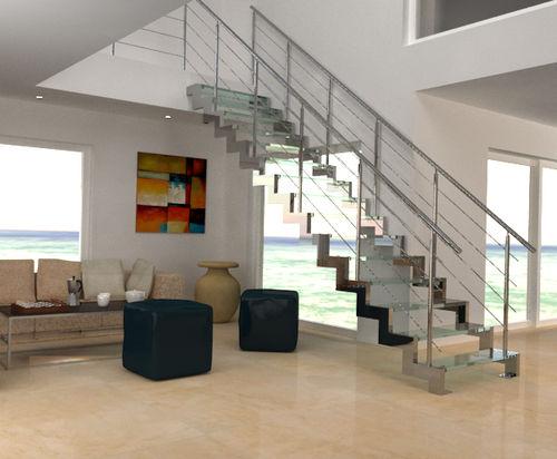 scala dritta / con struttura in acciaio inossidabile / con gradini in vetro / senza alzata
