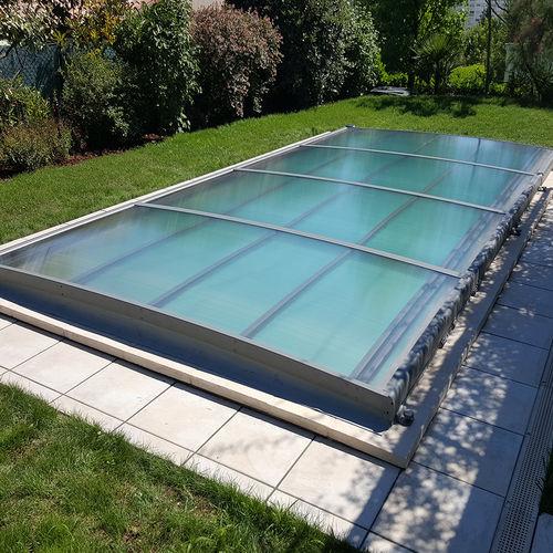 copertura per piscina piatta / in alluminio / ad azionamento manuale