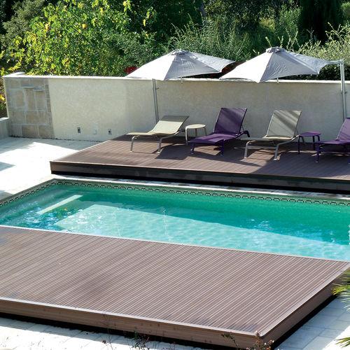 copertura per piscina piatta / scorrevole / in legno / ad azionamento manuale