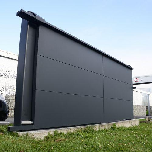 cancello scorrevole / in alluminio / a pannello / contract