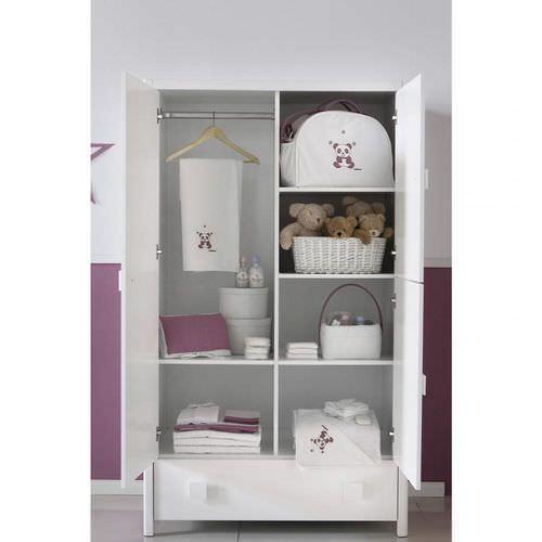 armadio moderno / in legno / con ante battenti / a cassetti