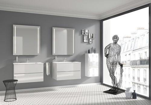 Mobile lavabo sospeso / in legno / in Cristalplant® / moderno BLOCK COSMIC