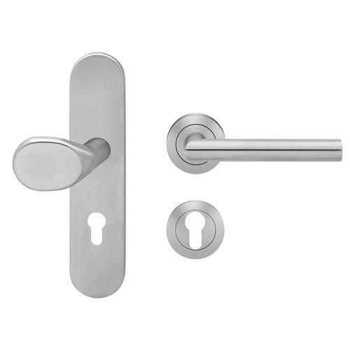 maniglia per porta / in acciaio inox / moderna / finitura spazzolata