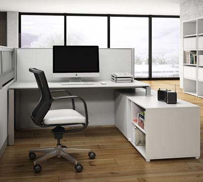 divisorio per ufficio a pavimento / in tessuto / in vetro / in alluminio
