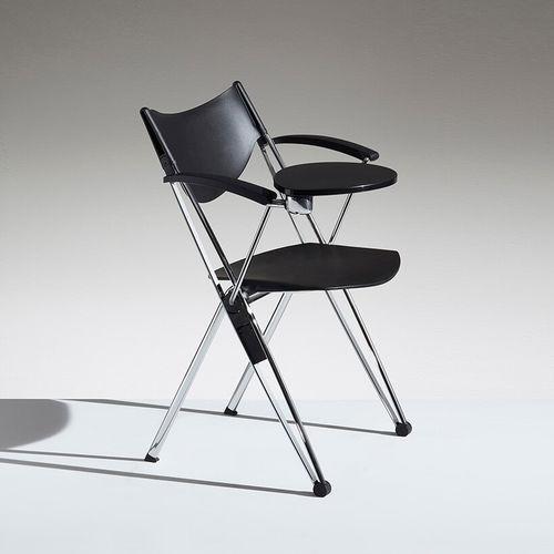 sedia da conferenza impilabile / con rotelle / pieghevole / con tavoletta
