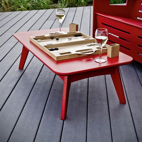 tavolino basso moderno / in polietilene / rettangolare / tondo