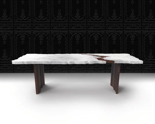 tavolo moderno / in noce / in marmo / rettangolare
