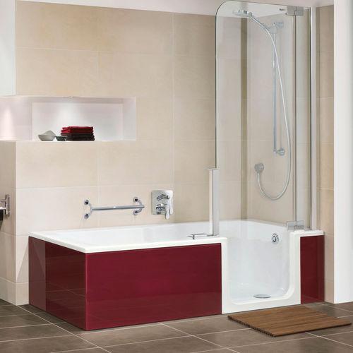 vasca da bagno doccia da incasso / rettangolare / in quarzite / con porte