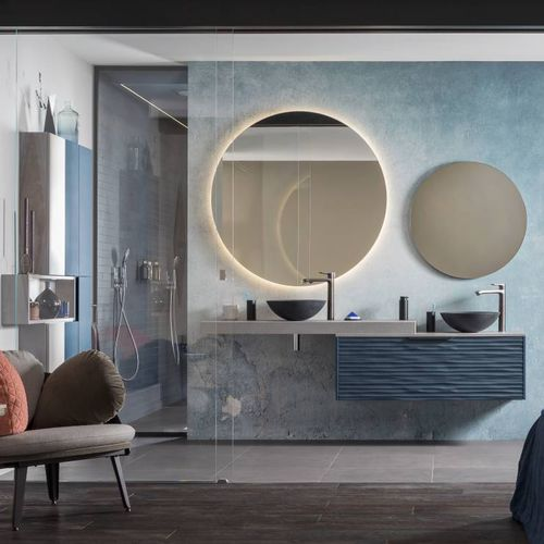 bagno moderno / in vetro / in pietra