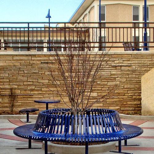 griglia di protezione per alberi in acciaio / con panchina integrata