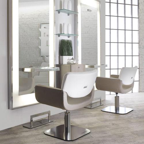 poltrona da parrucchiere in ecopelle / in acciaio / in legno composito / con base centrale