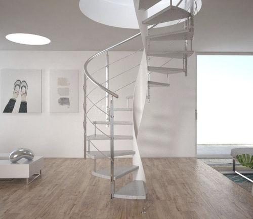 scala elicoidale / con struttura in metallo / con gradini in legno / con gradini in vetro
