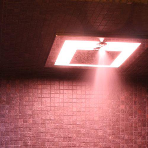 soffione doccia da incasso a soffitto / quadrato / a pioggia / con illuminazione incorporata