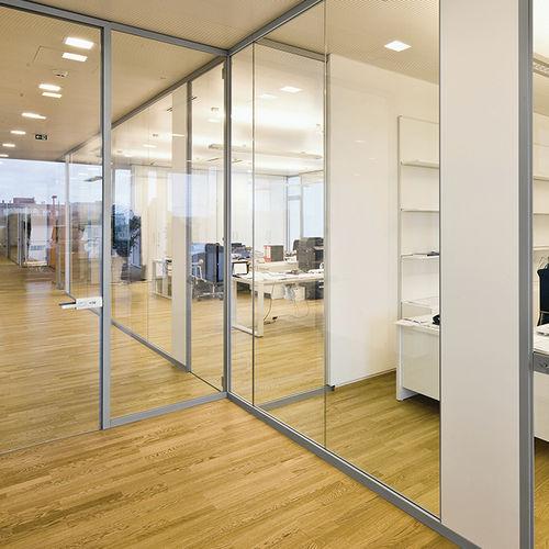 parete amovibile / in vetro / da ufficio / trasparente