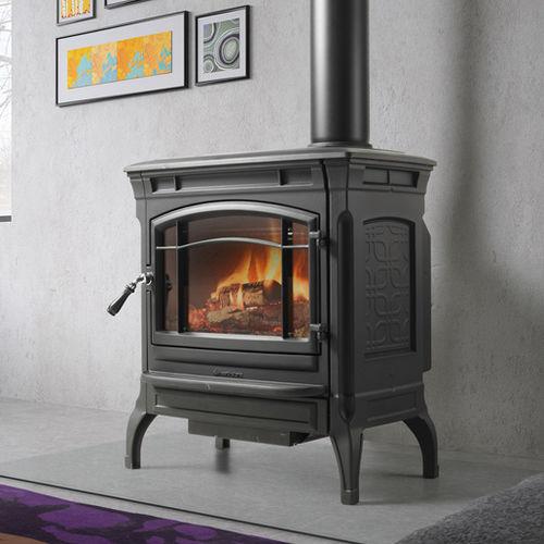 stufa a legna / tradizionale / in ghisa / a doppia combustione