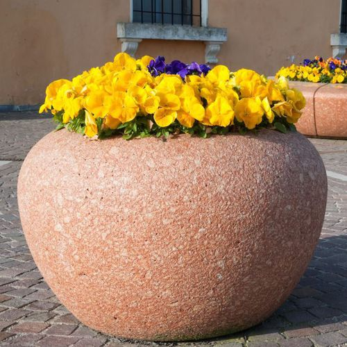 fioriera in marmo / in pietra naturale / tonda / moderna