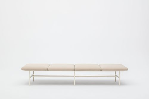 divanetto imbottito modulare / moderno / in tessuto / in acciaio con rivestimento a polvere