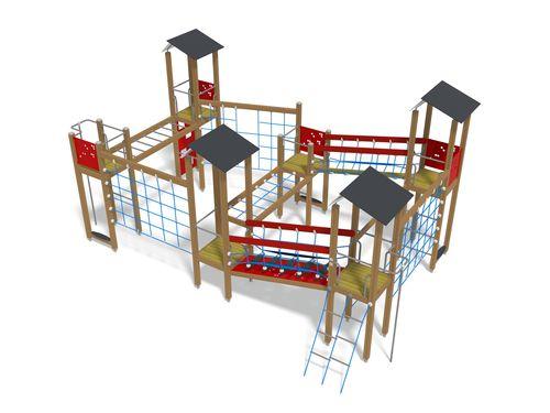 struttura ludica per parco giochi / in legno / in HPL / modulare