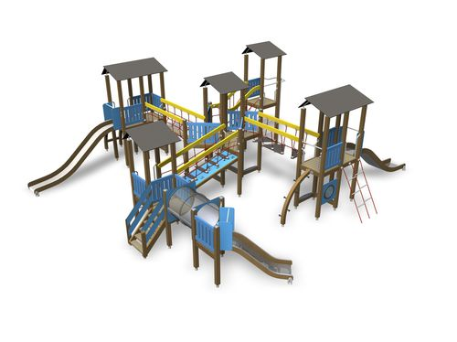 struttura ludica in legno / in HPL / per parco giochi / modulare