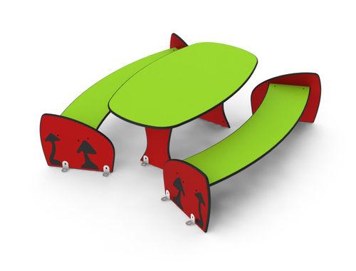 set tavolo e panca moderno / in HPL / per bambini / per esterni