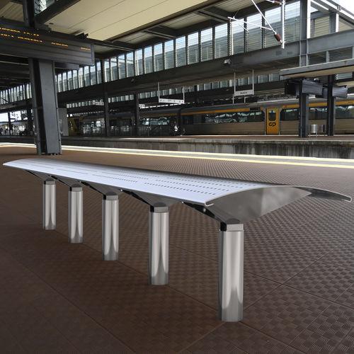 panca pubblica / moderna / in acciaio inossidabile / per aeroporto