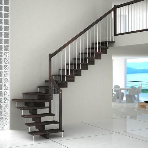 scala a L / con struttura in metallo / con gradini in legno / senza alzata