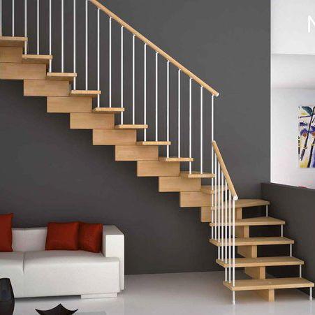 scala a L / con struttura in metallo / con gradini in legno / con alzata