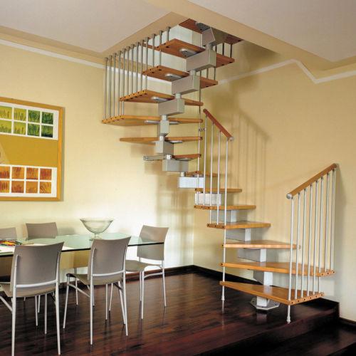 scala a U / con struttura in metallo / con gradini in legno / senza alzata