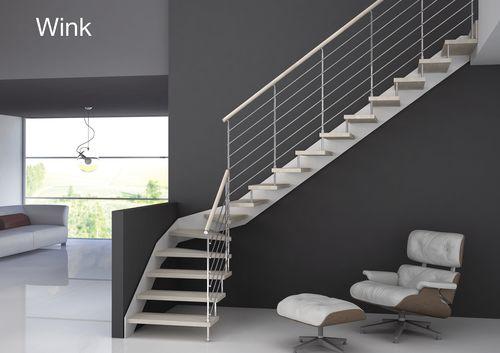 Scala a L / con gradini in legno / con struttura in metallo / senza alzata WINK Grana Enzo & C.Snc