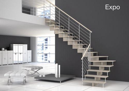 Scala a L / con gradini in legno / struttura in metallo / senza alzata EXPO Grana Enzo & C.Snc