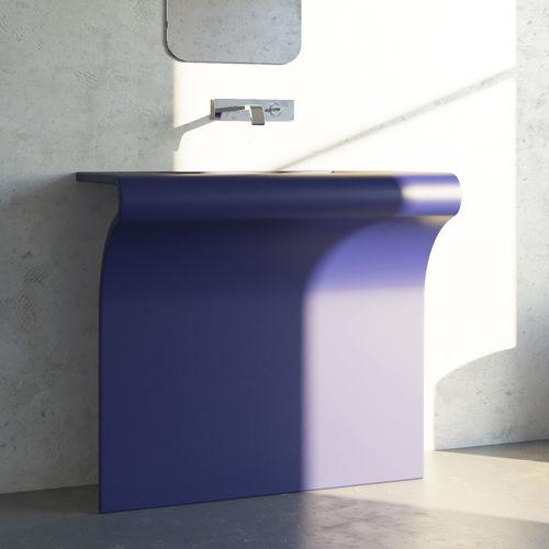 lavabo da terra / rettangolare / in acciaio inox / design originale