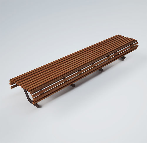 panca pubblica / moderna / in legno / in metallo verniciato