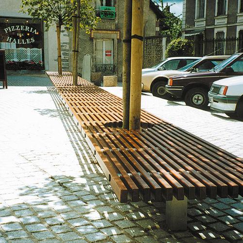 panca pubblica / moderna / in legno / in acciaio inox