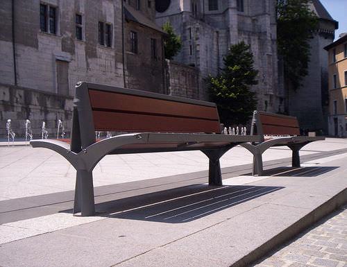 panca pubblica / classica / in legno / in acciaio