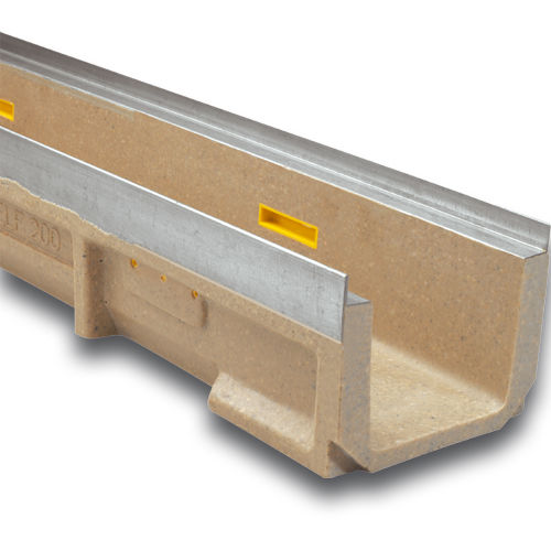canaletta per spazio pubblico / in calcestruzzo a polimeri / in acciaio galvanizzato / con griglie