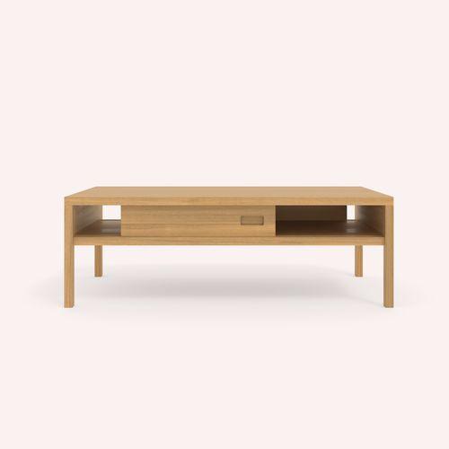 tavolino basso moderno / in quercia / rettangolare / da interno