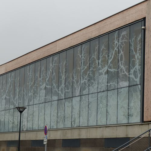 pannello in vetro laminato / a doppi vetri / isolante / decorato