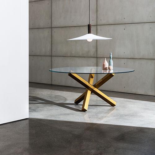 tavolo da pranzo moderno / in vetro temprato / in metallo / rettangolare