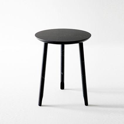 tavolo d'appoggio moderno / in marmo / tondo / bianco