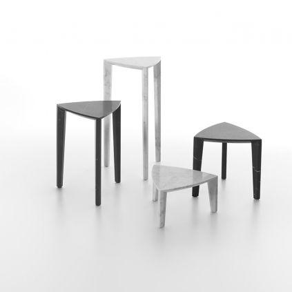 tavolo d'appoggio moderno / in marmo / triangolare / bianco