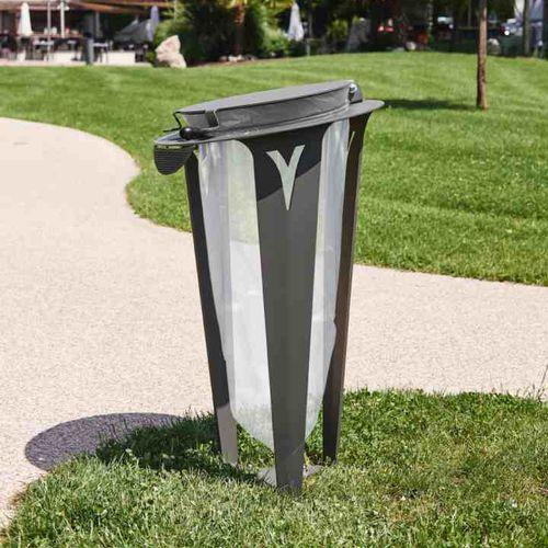 pattumiera pubblica / in acciaio / in acciaio inossidabile / per spazi pubblici